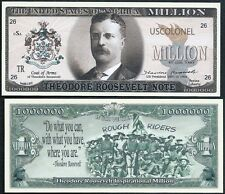 Theodore / Teddy Roosevelt Million Dollar Note w Rough Riders - Lot of 10 Bills
