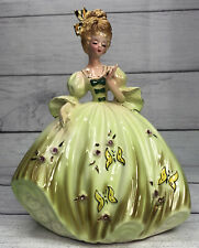 "Josef Originals Girl Figurine Green Dress Butterfly Holding Locket 8.5"" Vintage"