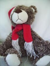 "Black White Teddy Bear by Atico International Plush14"" Stuffed Animal Red Scarf"