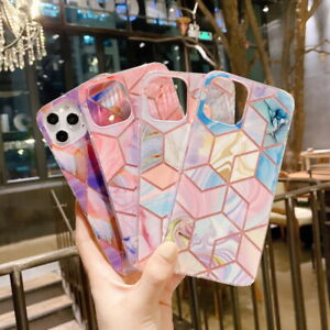 For iPhone 11 Pro Max XS XR 8 7 Geometric Line Marble Colorful Bling Case Cover