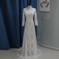 Vintage Lace Long Sleeve Mermaid Wedding Dress Backless Beach Boho Bride Gowns