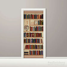 Bookshelf Wallpaper Door Mural Art Globe Photo Poster Wall Sticker Contact Paper