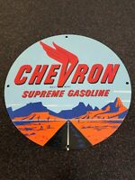 VINTAGE CHEVRON SUPREME GASOLINE PORCELAIN SIGN GAS STATION PUMP PLATE MOTOR OIL