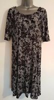GEORGE Size 14 Stretch Dress BLACK/WHITE  Fitted Casual VGC Women's Ladies