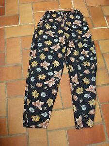 joli pantalon viscose fluide 38-40 imprimé fleurs taille élastiquée