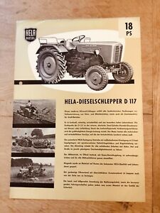 Prospekt HELA Hermann Lanz 18 PS Diesel-Schlepper Typ D 117, Ausgabe 1960