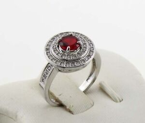 New Jewelry Natural 1.68ct Ruby 14k Solid White Gold Ring Size 7.5#