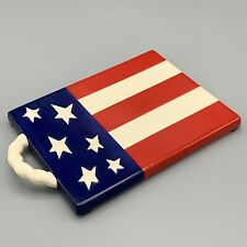 Ceramic Patriotic American Flag Trivet Wall Mount Hot Plate Stars Stripes