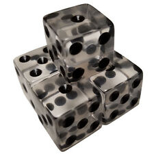 Set 5 Dice Clear Transparent 6 Sided Black Pips Square Corner 16mm Organza Bag