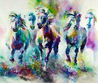 "Watercolor Horse Running  wall art Canvas 20""X20"""