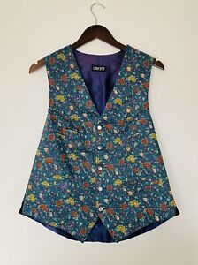 Liberty of London Floral Waistcoat Blue Purple Pure Cotton 40-41 Chest