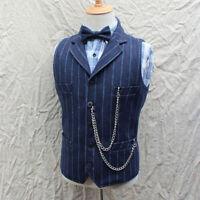 Retro Men Stripe Lapel Formal Business Dress Wool Blend Vest Waistcoat Plus Size