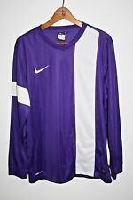 Nike Dri-Fit Men's Football Jersey Jumper Long Sleeve Purple Light V Neck Size L