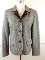 Talbots Womens 14 Gray Wool Blazer Jacket Velvet Notched Collar Buttons
