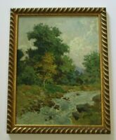 LUIGI CERGOLI OIL PAINTING ANTIQUE OIL 1920'S IMPRESSIONIST LANDSCAPE STREAM