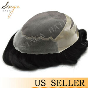 Thin Skin Front Mens Toupee Hairpiece Fine Mono Human Hair System Replacement US