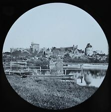 c1890s Magic Lantern Slide Photo View On The River Thames Windsor From Brocas