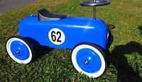 KIDS  RIDE ON CLASSIC RACING CAR METAL  PUSH CAR BLUE RACER 76cm  STEEL NEW