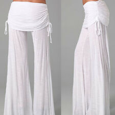 Hot Women' Casual Stretch Pants Wide Leg Long Bohemian Loose Palazzo Trousers XM