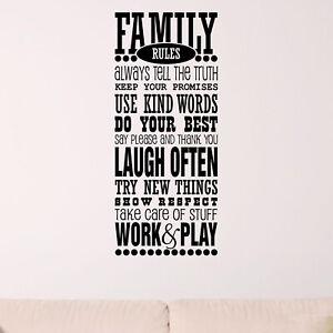 Family Rules Quote Wall Sticker Decal Transfer Home Design Matt Vinyl UK