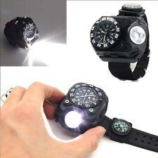 Outdoor Compass Flashlight Torch Lamp Light Quartz LED Date Display Wrist Watch