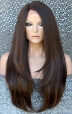 HEAT OK Lace Front WIG Realistic Layered Straight Hairpiece WU Brown mix 4-27