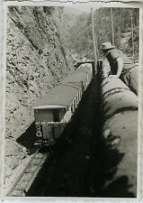 PHOTO ANCIENNE - VINTAGE SNAPSHOT - TRAIN PETIT TRAIN TOURISTIQUE CHAMONIX 1950