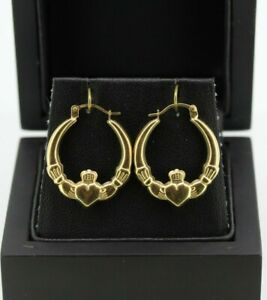 9CT YELLOW GOLD 20MM X 24MM CLADDAGH CREOLE EARRINGS