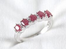 Oval Cut Ruby 5 Stone Ring 1.31ct in 925 Sterling Silver Size 8 List $390