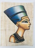 Vintage HAND PAINTED EGYPTIAN ART ON PAPYRUS Egypt Queen Nefertiti