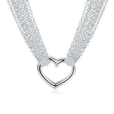 Fashion Jewelry 925 Real Silver Crystal Lots Charm Chain Heart Pendant Necklace