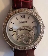 GENEVA Quartz Women's Watch Rhinestone Heart Leather Band Japan Vintage