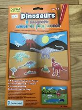 Fiesta Crafts 2 Magnetic Colour in Dinosaur play scenes, inc 54 colour in pieces