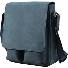 Genuine Leather Men's Blue Shoulder Messenger Cross Body Sling Bag Work SATCHEL
