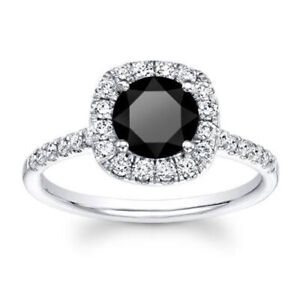 2.70 CT Round Halo Black Diamond Engagement Ring 10kt Solid White Gold