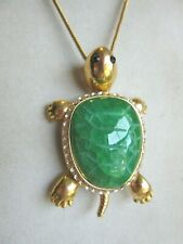 Carved Green glass white rhinestone articulated turtle pendant w/ snake chain