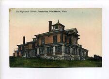 Winchendon MA Mass Highlands Private Sanatorium, antique postcard