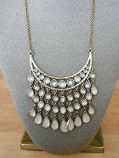 Lucky Brand Gold Tone Stone Bib Necklace MSRP $79