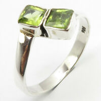 925 Pure Sterling Silver Green Facetted Peridot Ring Size 6 Face Width 10 mm