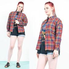 Vintage 90's Rojo Cuadros Azules Y Franela Escocesa Grunge Camisa Estilo noventa 8