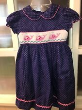 Marmellata Blue Polka Dot Size 6 Smocked Pink Whales Dress
