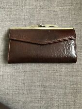 Vintage Dark Brown Real Leather Purse Notes & Zip Section Coins with Snap Clasp