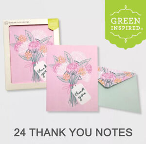 GREEN INSPIRED Thank You Notes Any Occasion Bouqust Flowers USA Designed 24 Sets
