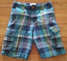 P.S. Aeropostale Kids Boys Blue Green Plaid Cargo Shorts Size 7