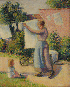 """Camille Pissarro - Woman Hanging up the Washing 1887 Signed - 17""""x22"""" Art Print"""