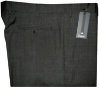 $325 NWT ZANELLA ITALY DEVON CHARCOAL BLACK BOX CHECK SUPER 120'S WOOL PANTS 38