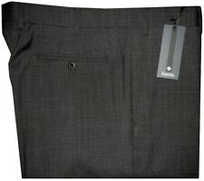 $325 NEW ZANELLA DEVON CHARCOAL BLACK BOX CHECK SUPER 120'S WOOL DRESS PANTS 36