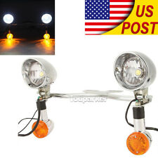 Chrome Motorcycle Driving Passing Bullet LED Turn Signal Spot Fog Lights Bar TOP