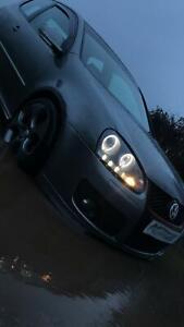 For VW Golf Mk5 V 2004-09 Black Projector Angel Eye With LED DRL Strip Rhd