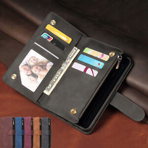 For Samsung S21+ Ultra Note 20 S10 S9 Plus Leather Zipper Wallet Card Case Cover